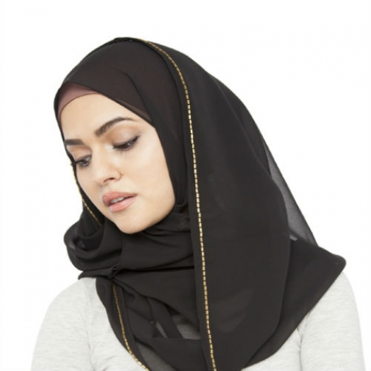 BLACK GOLD TRIM HIJAB