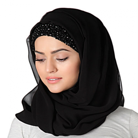 EMBROIDERED HIJAB BAND - BLACK