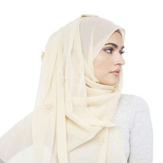 CREAM FLORAL EMBELLISHED HIJAB